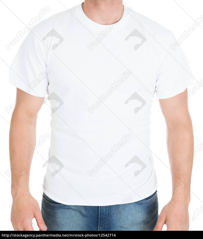 man, wearing, white, tshirt - 12542714