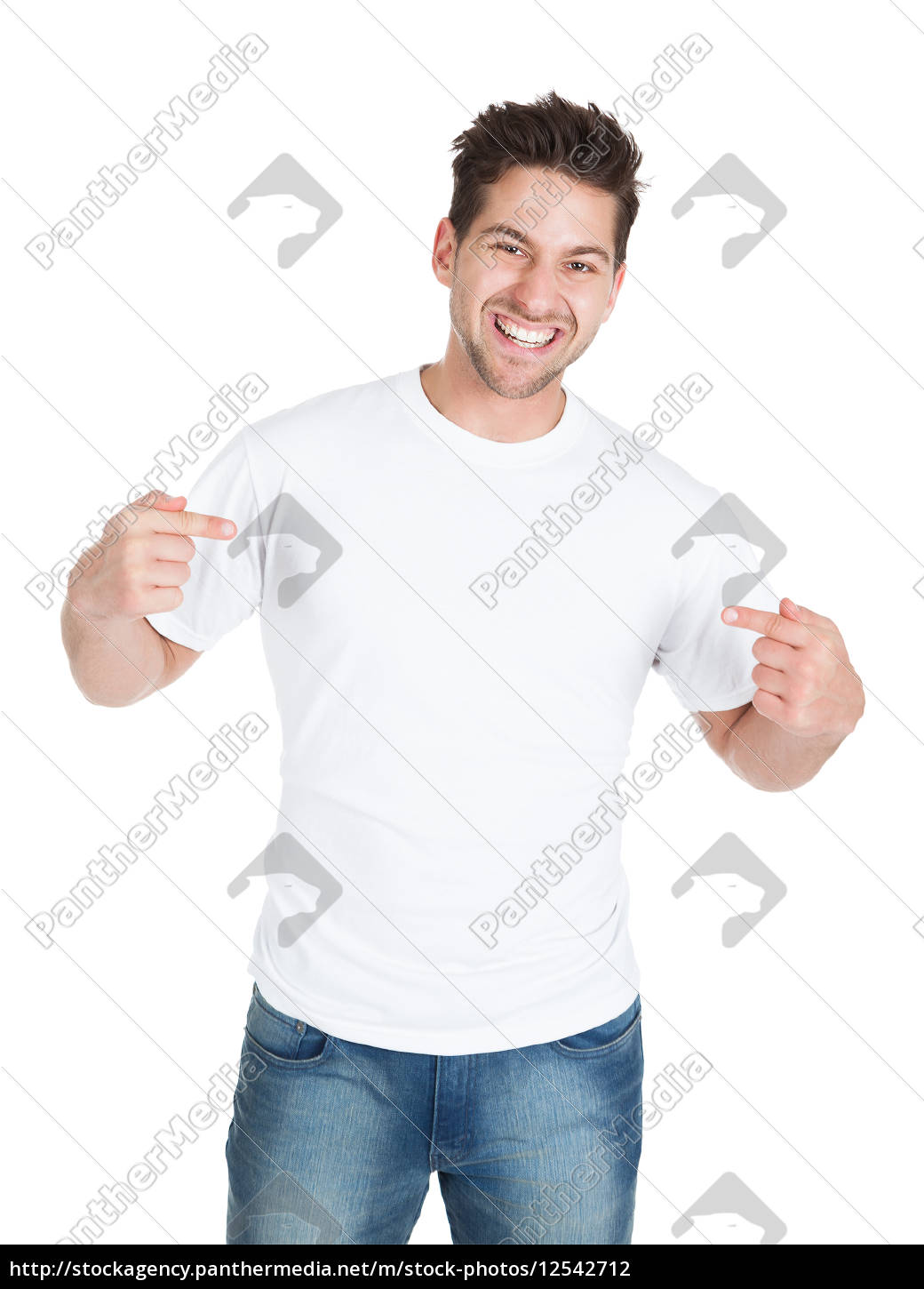 smiling, young, man, pointing, itself - 12542712
