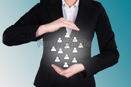 businesswoman, protecting, human, icons, representing, leadership - 12543008