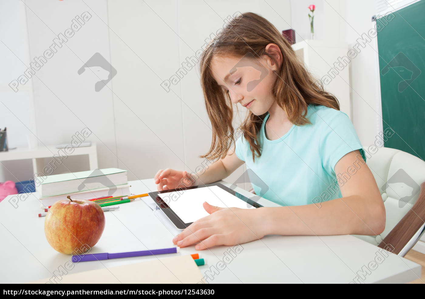 girl, using, digital, tablet, in, study - 12543630