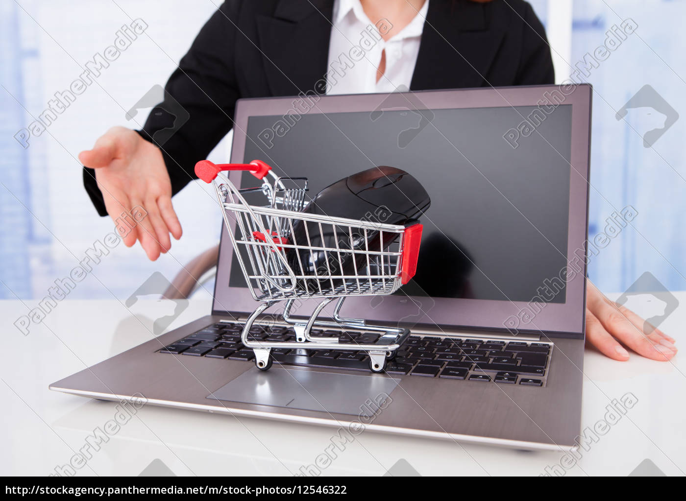 businesswoman, with, shopping, cart, model, and - 12546322