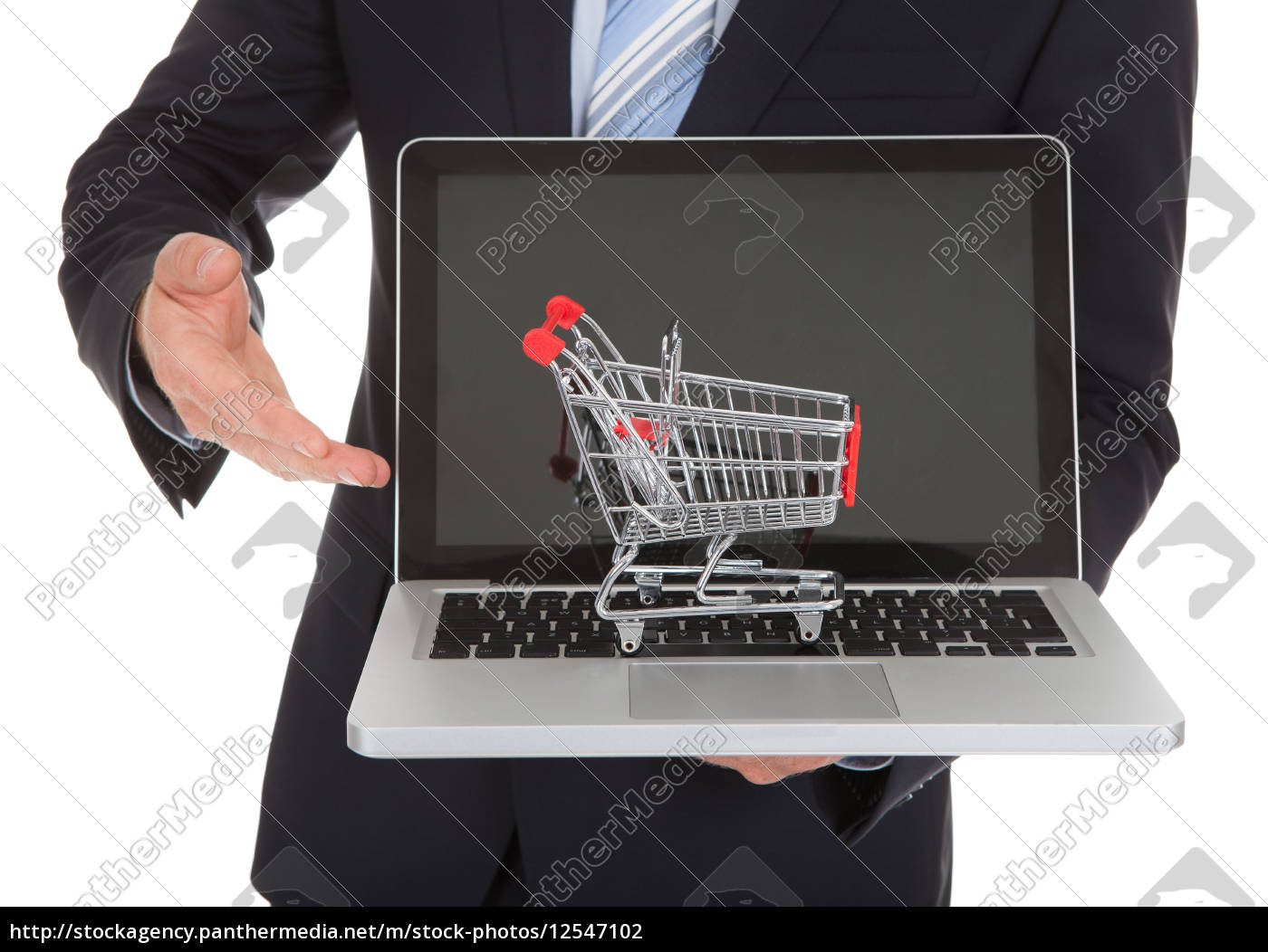 businessman, with, laptop, and, shopping, cart - 12547102