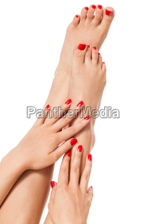woman with beautiful neatly manicured red
