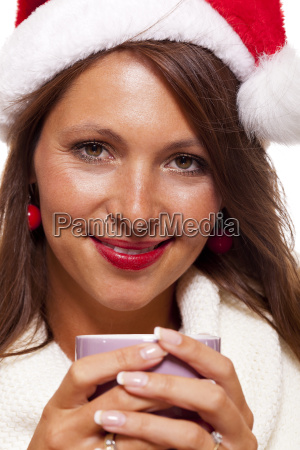 attractive, young, woman, with, red, santa - 12549604