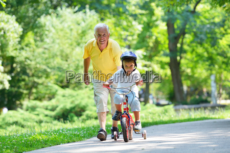 happy, grandfather, and, child, in, park - 12549422
