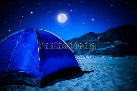 camp tent on the beach at