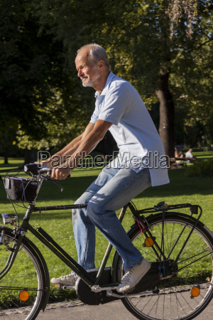 elderly man senior retiree while cycling