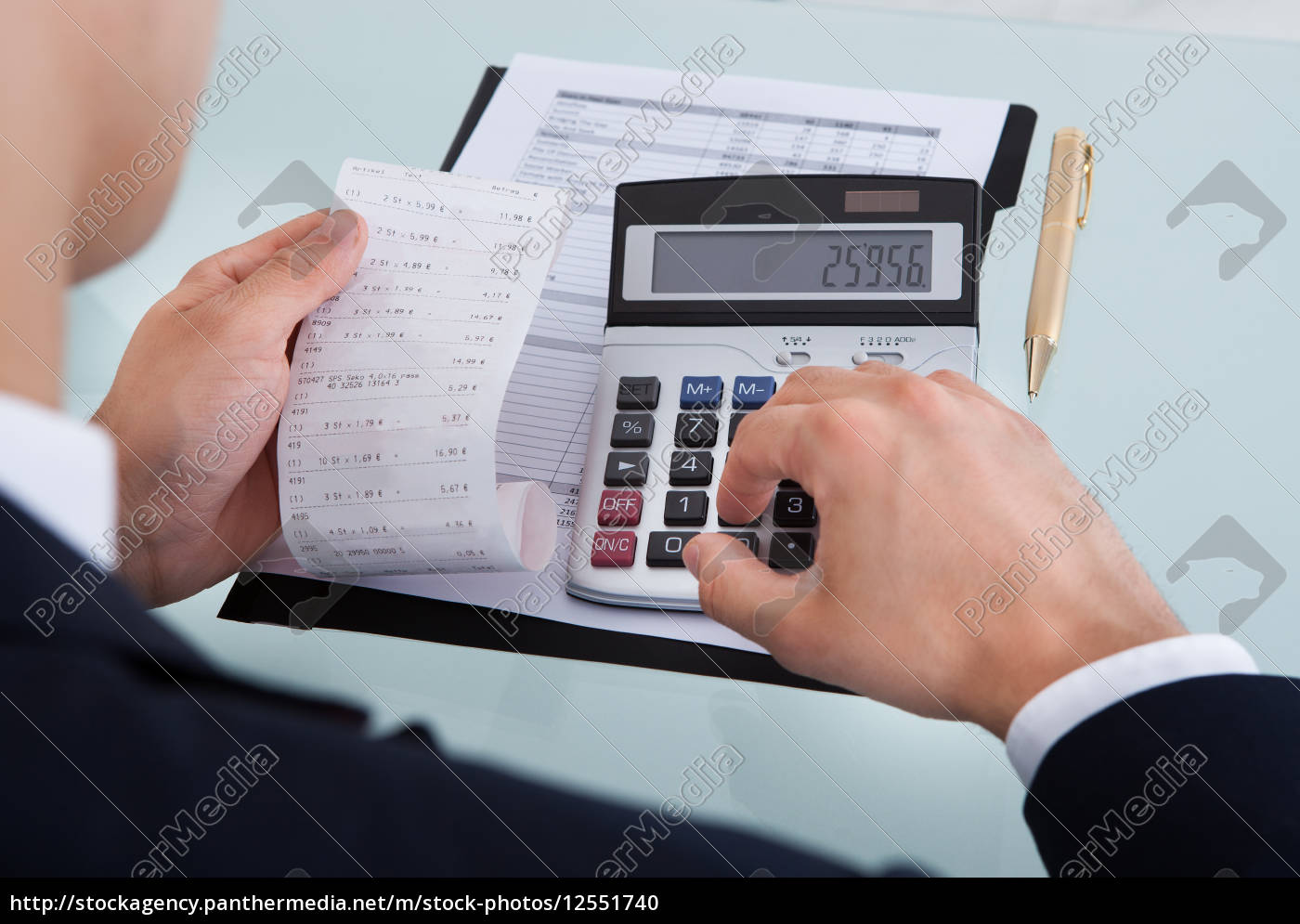 businessman, holding, receipt, while, calculating, expense - 12551740