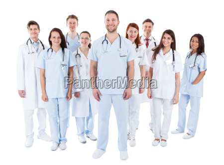 large diverse group of medical staff