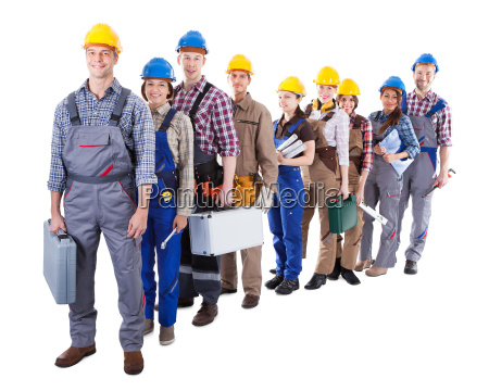 large group of construction workers queuing