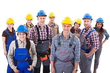 confident diverse team of workmen and