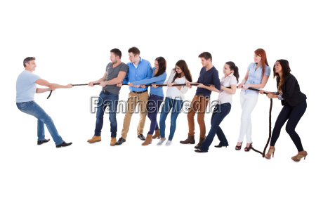 group of people having a tug
