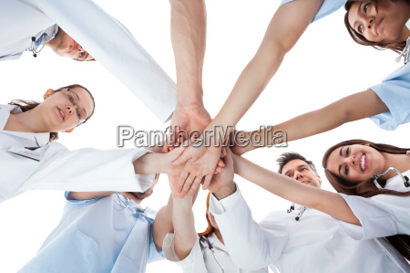 doctors, and, nurses, stacking, hands - 12552070