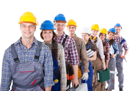 large, group, of, construction, workers, queuing - 12552120