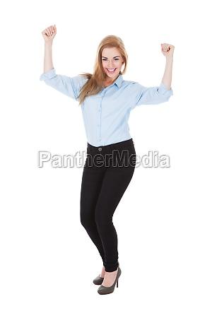 smiling ecstatic woman