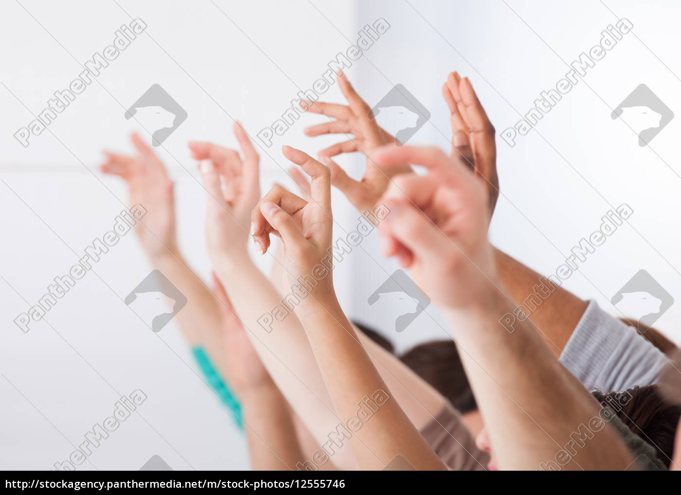row, of, college, students, raising, hands - 12555746