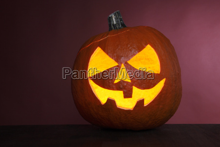 pumpkin, on, red, background, for, halloween - 12556098