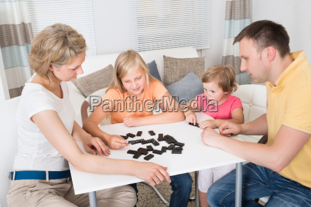young, family, playing, domino, game - 12556188