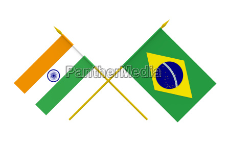 flags brazil and india