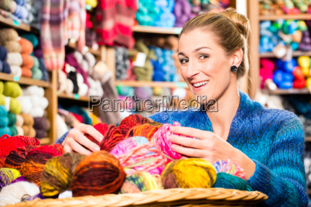 young woman in shorthand shop