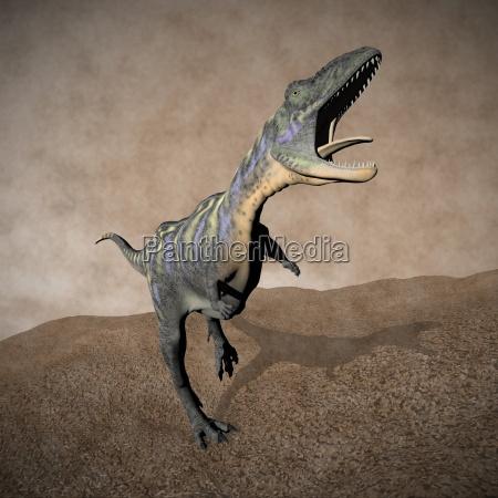 aucasaurus dinosaur roaring 3d render