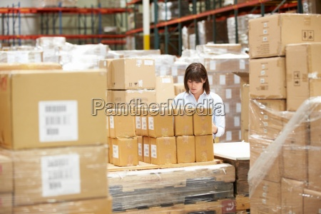 worker in warehouse preparing goods for