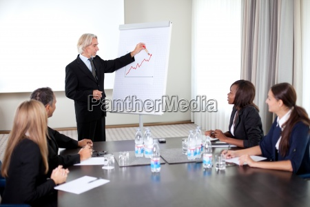 business people holding a conference at