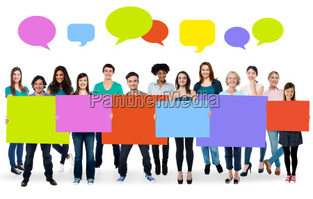 diverse people holding colorful boards