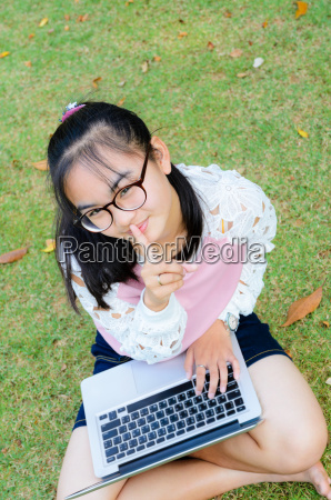 lovely girl with a laptop on