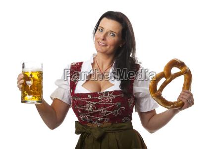 woman beer octoberfest bavarian pretzel dirndl