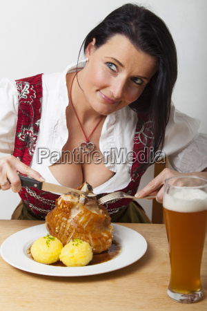woman with bavarian pork