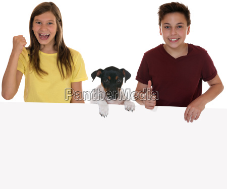 laughing children with empty poster text