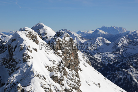 winter in the alps mountains with
