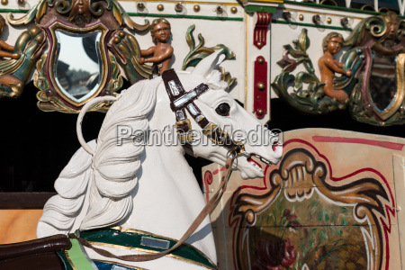 wooden horse on old carousel