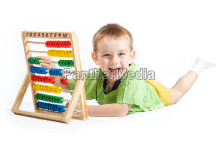 jolly baby boy with abacus isolated