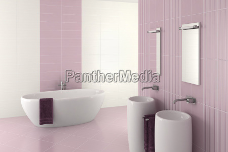 purple modern bathroom with double basin