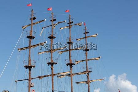 masts and sails of huge sailing