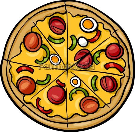 italian pizza cartoon illustration