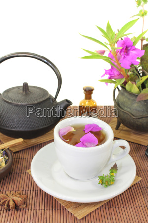 chinese herbal medicine with a cup
