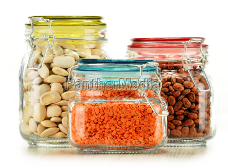 jars with grain foods isolated on