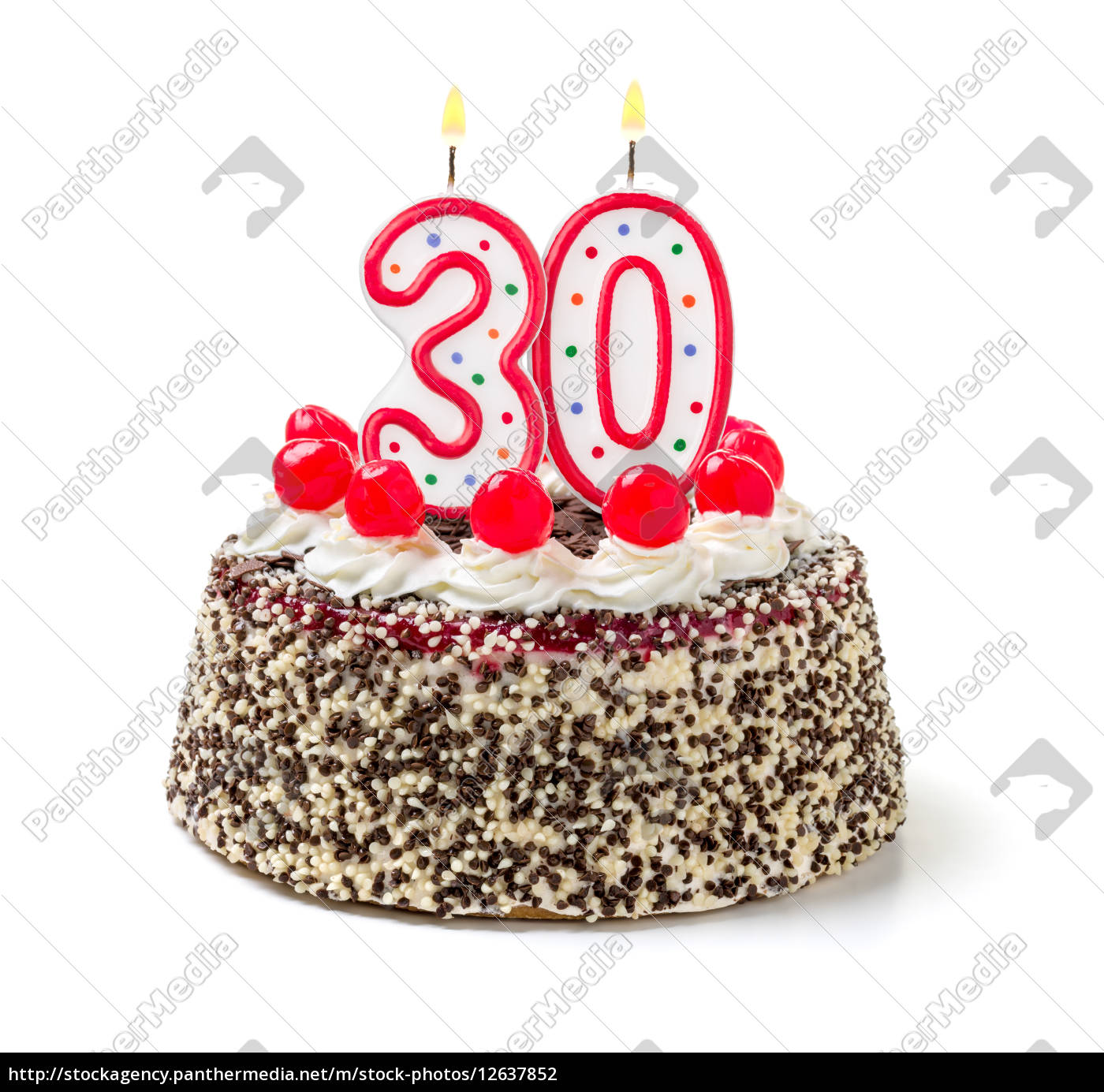 Stupendous Birthday Cake With Burning Candle Number 30 Royalty Free Photo Birthday Cards Printable Giouspongecafe Filternl