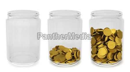 glass jars with golden coins savings