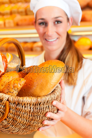 baker sells bread in the basket