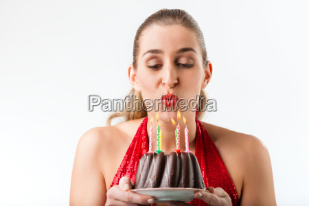 woman birthday cake with candles and
