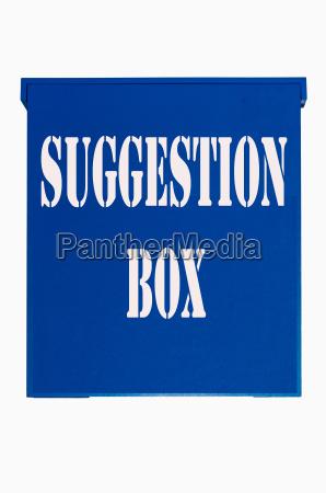 blue wooden box suggestion box ballot