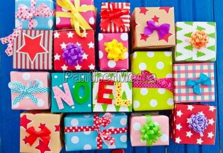 colorful gifts on blue