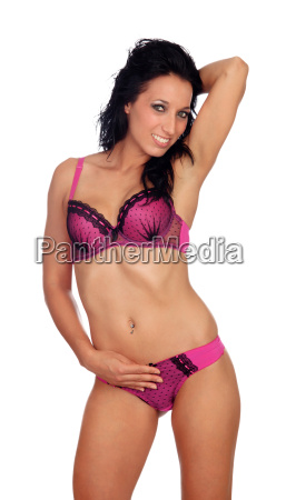 sexy brunette woman with beautiful lingerie
