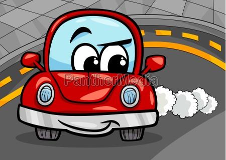 funny retro car cartoon illustration