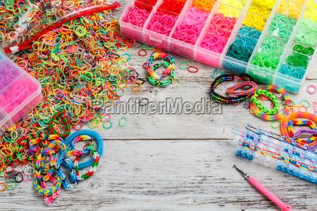 colorful elastic loom bands