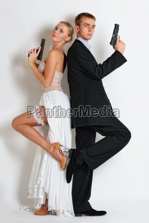 beautiful spy couple in evening dress